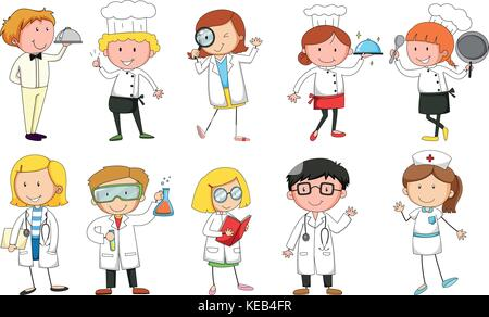 People in uniform doing different occupations - Stock Photo