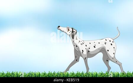 Illustration of a dog standing in the park - Stock Photo