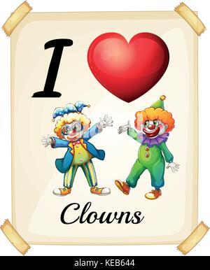 I love clowns sign - Stock Photo