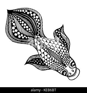 Zentangle vector Gold Fish for tattoo in boho, hipster style. Ornamental tribal patterned illustration for adult - Stock Photo
