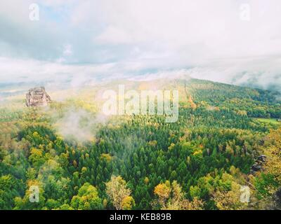 The Schramsteine and Falkenstein rocks in early autumnal view. Rocks in the Elbe Sandstone Mountains park, Saxony, - Stock Photo