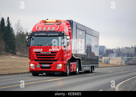SALO, FINLAND - MARCH 24, 2016: Red Iveco Stralis Semi on the road in Salo after the Case IH Red Power Tour in Turku, - Stock Photo