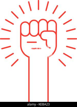 thin line red hand up icon - Stock Photo