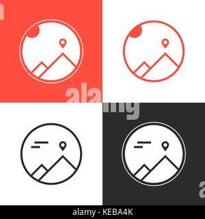set of four mountaineering logos - Stock Photo