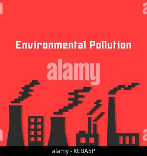 environmental pollution with factory silhouette - Stock Photo