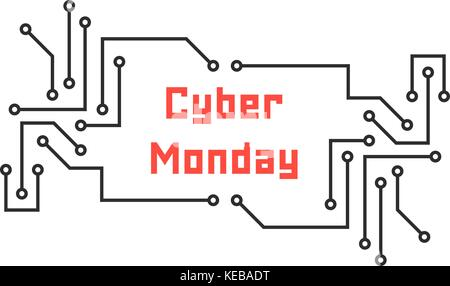 cyber monday with pcb elements - Stock Photo