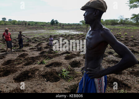 MOZAMBIQUE, Moatize, the village Chipanga was resettled by VALE coal mining, a brazil company, the new settlement - Stock Photo