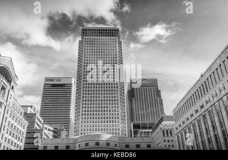 Canary Wharf in the heart of the financial district, shot on the 29th of September 2017, London England - Stock Photo