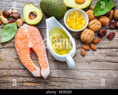 Selection food sources of omega 3 and unsaturated fats. Superfood high vitamin e and dietary fiber for healthy food. - Stock Photo