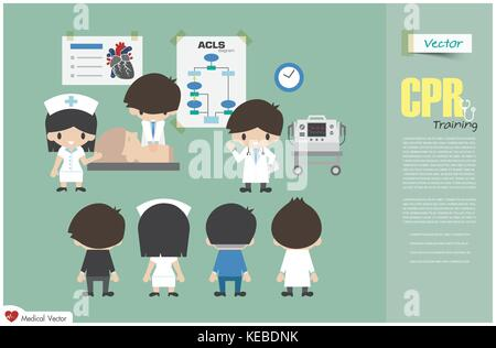 CPR training . Medical team are teaching about cardiopulmonary resuscitation in hospital . Vector . Flat design - Stock Photo