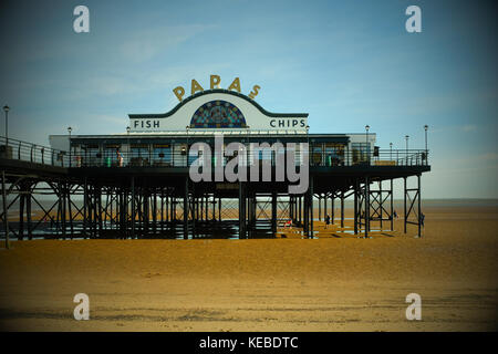 Papas fish and Chip restaurant Cleethorpes Pier facade, Linconshire, East coast, England, UK - Stock Photo