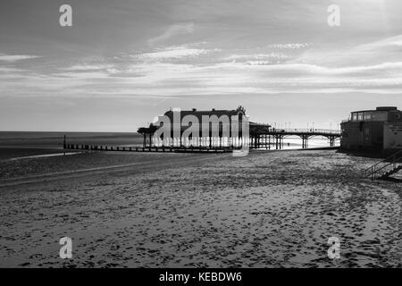 Cleethorpes Pier seen from a distance shot in black and white. - Stock Photo