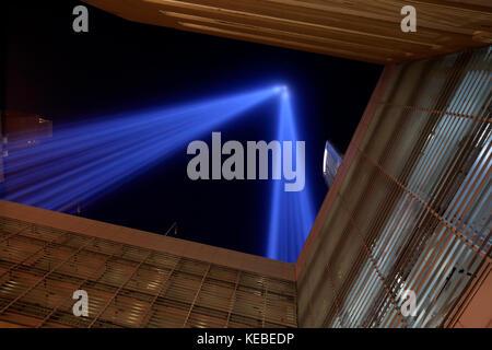 Tribute in Light remembrance of September 11 attacks in New York City - Stock Photo