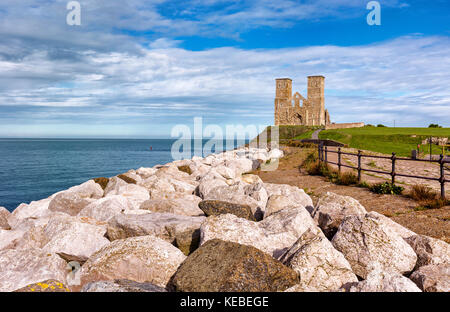 Looking Eastwards at Reculver Towers on the north Kent coast - Stock Photo