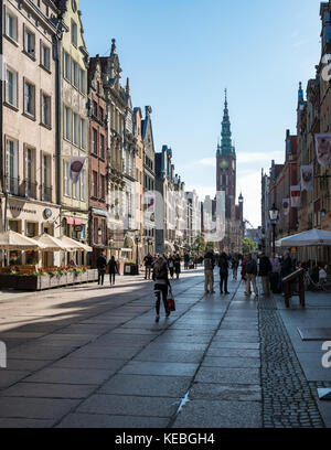 Tourists on Long Lane in Gdansk, Poland - Stock Photo