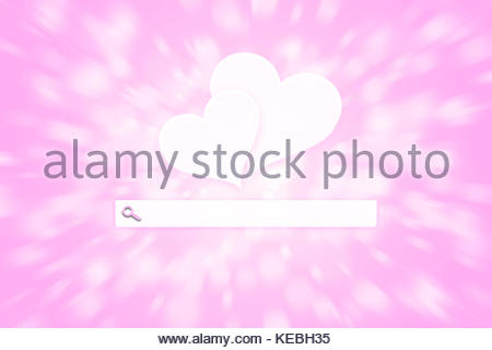 Pink colored artistic blurry hearts with blank search toolbar on motion blurred illustration background. - Stock Photo
