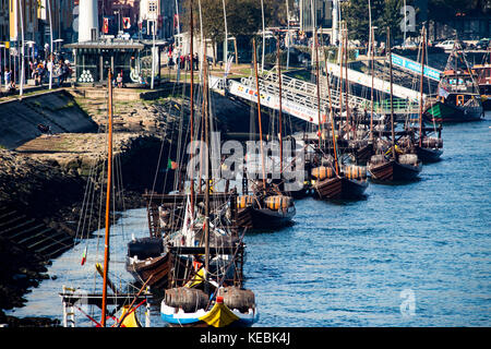 Historic rabelo port river boats on the Douro River with rabelo, Porto, Portugal - Stock Photo