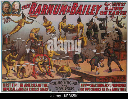 Barnum and Bailey Greatest Show on Earth, The Ching-Ling-He and Tia Pen Troupes, Circus Poster, 1914 - Stock Photo
