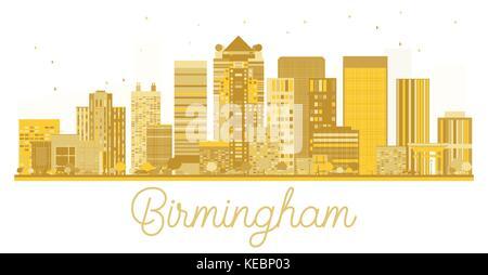 Birmingham City skyline golden silhouette. Vector illustration. Business travel concept. Birmingham Cityscape with - Stock Photo