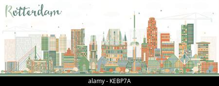 Rotterdam Netherlands Skyline with Color Buildings. Vector Illustration. Business Travel and Tourism Concept with - Stock Photo