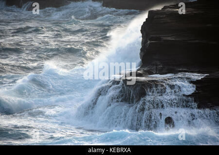 Halona Blowhole in the Southeast corner of Oahu, Hawaii is a natural opening in the rocks that spews water like - Stock Photo