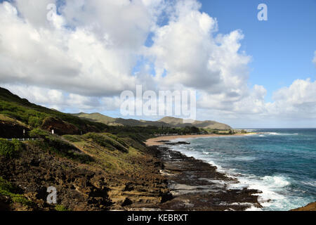 View of Sandy Beach from the Halona Blowhole in SE Oahu, Hawaii - Stock Photo