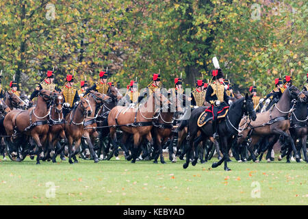 London, UK. 19th Oct, 2017. The King's Troop Royal Horse Artillery parade in front of Queen Elizabeth II in Hyde Park, on the occasion of their 70th Anniversary. The KTRHA was formed on the wishes of His Majesty King George VI in October 1947. Commonly known as the ''˜Gunners', The Royal Artillery provides firepower to the British Army. Equipped with 13-pounder field guns dating from WWI, the Troop provides ceremonial salutes for Royal occasions and state functions. Credit: ZUMA Press, Inc./Alamy Live News Stock Photo