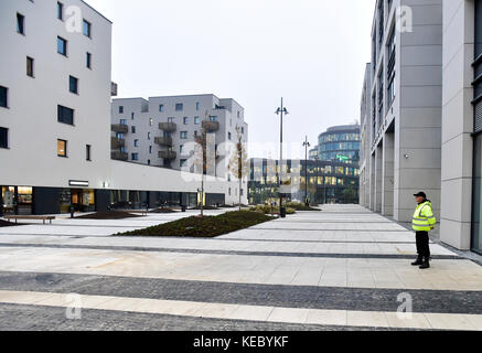Prague, Czech Republic. 18th Oct, 2017. A square in the area of the former brownfield Walter aircraft factory, where - Stock Photo