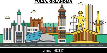 Tulsa,Oklahoma. City skyline architecture, buildings, streets, silhouette, landscape, panorama, landmarks. Editable - Stock Photo