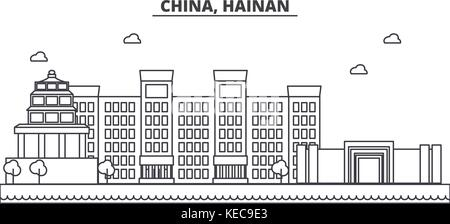 China, Hainan architecture line skyline illustration. Linear vector cityscape with famous landmarks, city sights, - Stock Photo