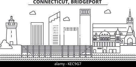 Connecticut, Bridgeport architecture line skyline illustration. Linear vector cityscape with famous landmarks, city - Stock Photo