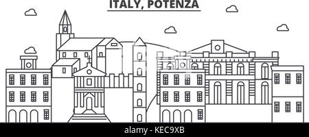 Italy, Potenza architecture line skyline illustration. Linear vector cityscape with famous landmarks, city sights, - Stock Photo