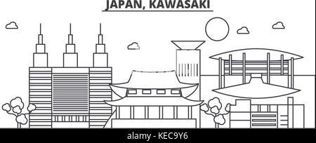 Japan, Kawasaki architecture line skyline illustration. Linear vector cityscape with famous landmarks, city sights, - Stock Photo
