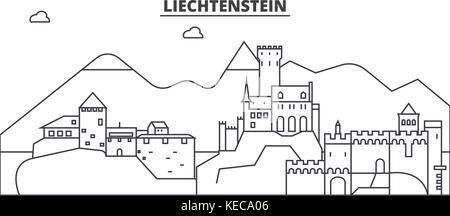 Liechtenstein architecture line skyline illustration. Linear vector cityscape with famous landmarks, city sights, - Stock Photo