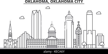 Oklahoma City Architecture Line Skyline Illustration Linear Vector Cityscape With Famous Landmarks