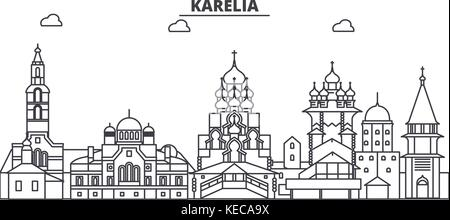 Russia, Karelia architecture line skyline illustration. Linear vector cityscape with famous landmarks, city sights, - Stock Photo