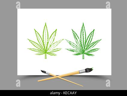 drawing hemp drug lesson - Stock Photo