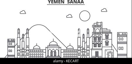 Yemen, Sanaa architecture line skyline illustration. Linear vector cityscape with famous landmarks, city sights, - Stock Photo