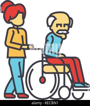 Young woman nurse strolling with elder man in wheelchair, social help concept.   - Stock Photo