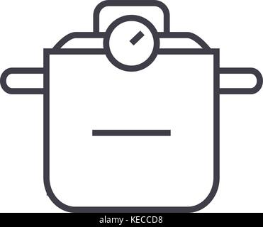 thermo pot  vector line icon, sign, illustration on background, editable strokes - Stock Photo