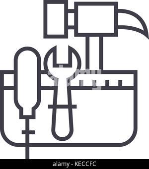 tool belt,hammer screw vector line icon, sign, illustration on background, editable strokes - Stock Photo