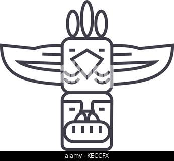 totem,native american vector line icon, sign, illustration on background, editable strokes - Stock Photo