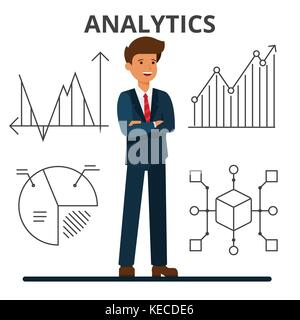 Business analytics. Young businessman looking at financial charts. Management and marketing. Data technology. Flat - Stock Photo