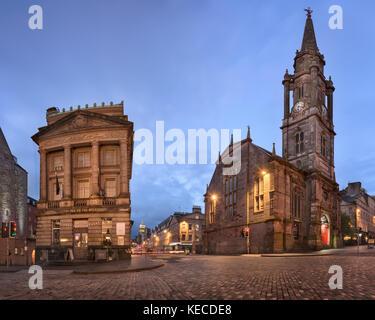 EDINBURGH, UNITED KINGDOM - SEPTEMBER 12, 2017: Panorama of Tron Kirk in the Morning, Edinburgh, Scotland. The Tron - Stock Photo