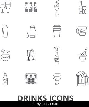 Drinks, cocktail, beer, alcoholic drinks, water, wine, alcohol, bar, coffee line icons. Editable strokes. Flat design - Stock Photo