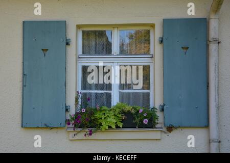 Old window with shutters and window box in detail - Stock Photo