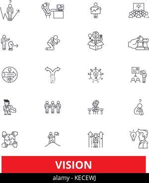 Vision, sight, mission, plan, eye, visionary, future,strategy,dream,value,idea line icons. Editable strokes. Flat - Stock Photo