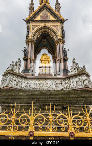 North side of the Albert Memorial - an ornate monument commemorating the death of Prince Albert in 1861. Kensington - Stock Photo