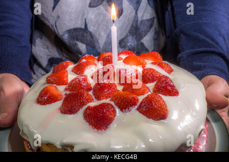 Woman's hands holding a sponge strawberry birthday cake, with cream and strawberries on top, plus a single lighted - Stock Photo