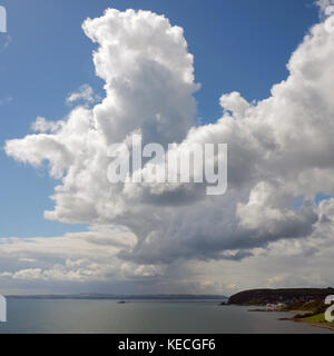 Big cloud over Whitehead, County Antrim - Stock Photo